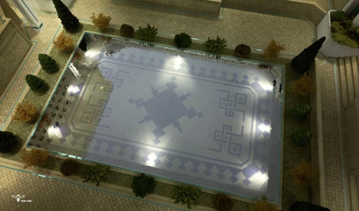 استودیو معماری دیدآ : نسبت طلایی در ابعاد مستطیل حوض و همچنین استغاده از طرح زیلوی یزد در کاشیکاری کف و داخل حوض