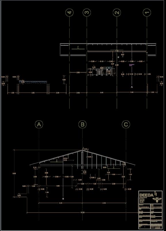 نقشه ی دقیق نمای ویلایی در شمال - استودیو معماری دیدآ