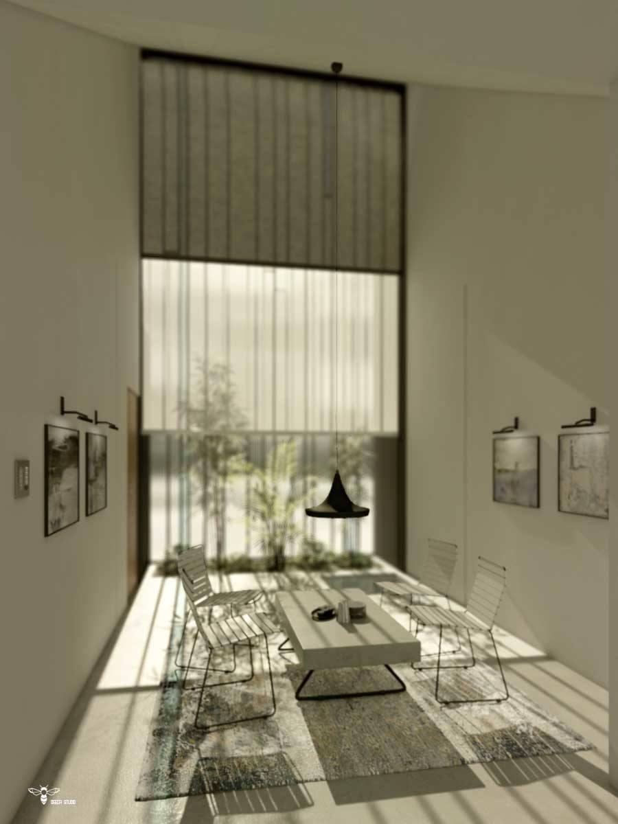 فضای گپ مدرن با طراحی خاص دو شید با ضخامت و رنگ های مختلف جهت ایجاد سایه های مختلف ( استودیو معماری دیدآ )- وجود یک باغچه ی کوچک و یک حوضچه ی یک متر مربعی بلافاصله بعد از شیشه - وجود سقفی بلند و شیبدار به سمت داخل بنا که به مثابه ی دروازه ای نور را به داخل بنا هدایت می کند . - دسترسی مجزا به ورودی بنا - وجود دو بازشو با لولای بالا بازشو در نمای شیشه ای جنوبی جهت سیرکولاسیون هوا - دو نور خطی عمودی که ضمن خوانا نمودن حریم نشیمن ، از فرم های هارمونیک طرح میباشد . - تابلو های نقاشی و صندلی و میز مدرن ( میز بتنی پُر ضخامت با پایه های ظریف فلزی )