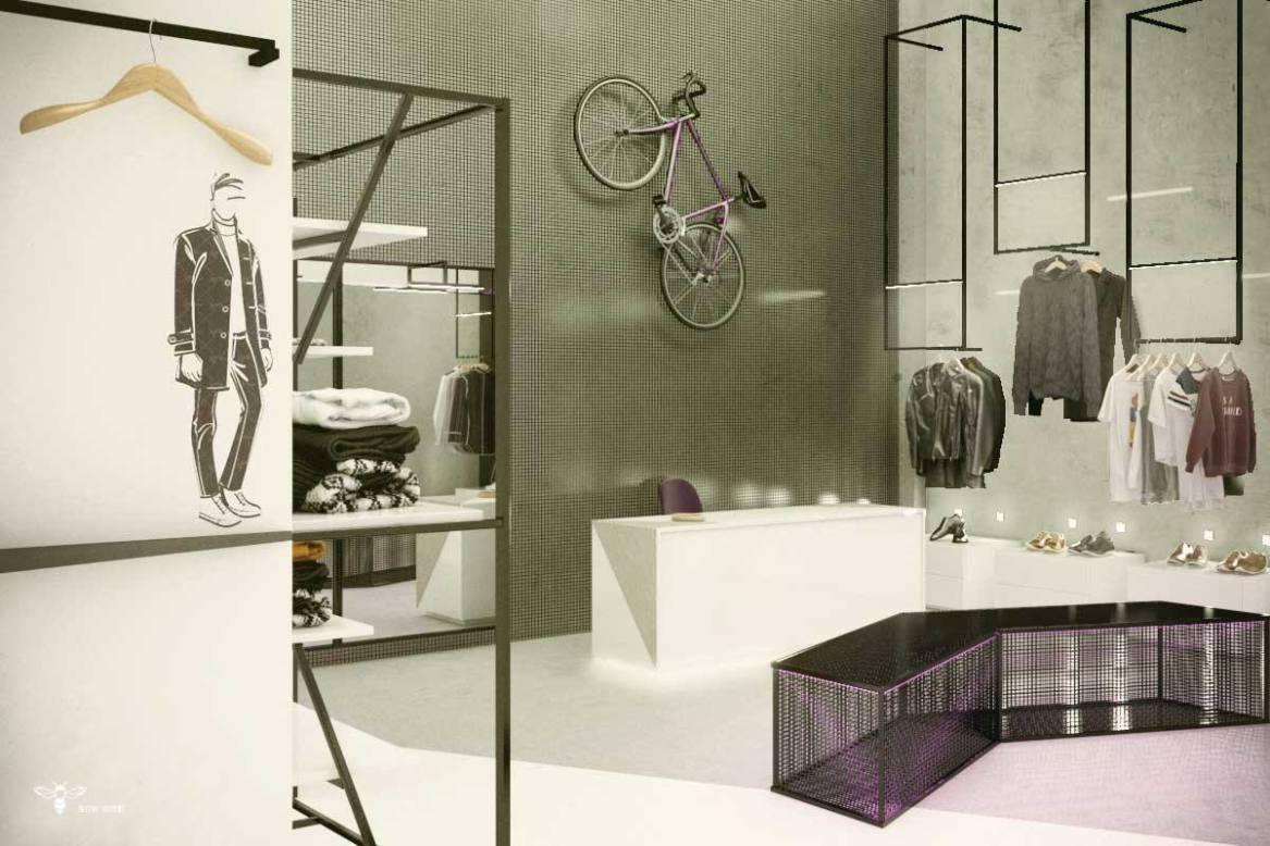 طراحی داخلی یک واحد فروشگاه پوشاک مردانه ( استودیو معماری دیدآ )