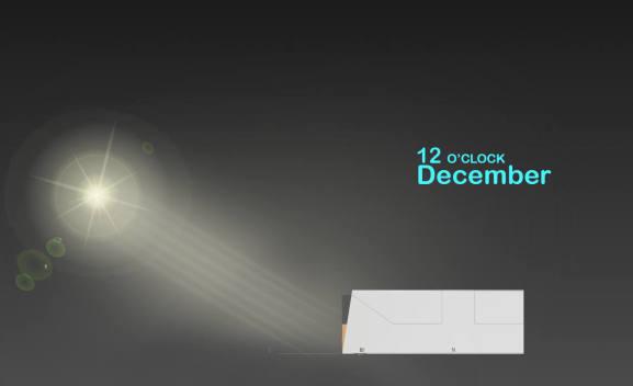 ( نورگیری طبیعی بنا در ماههای مختلف سال ( با توجه به موقعیت جغرافیایی آن -دسامبر (بین آذر و دی)