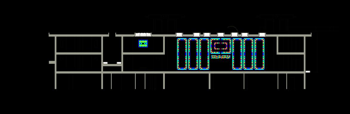 پلان دو بعدی از نمای شیشه ایی اسپایدر سرتاسری رنگی به روش اسید کاری شده طراحی شده توسط استودیو معماری دیدآ