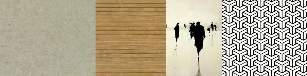 متریال های به کار گرفته شده در پروژه ی خانه ایی برای یک خانواده - بتن - چوب ترموود - کاشی برجسته ی سفید و مشکی ( طراحی و انتخاب شده توسط استودیو معماری دیدآ )
