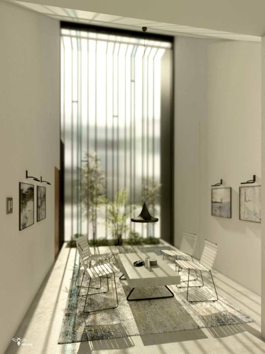 فضای گپ فوق مدرن با شیشه های بلند رنگی و نورپردازی خاص در شب - طراحی شده توسط استودیو معماری دیدآ- وجود یک باغچه ی کوچک و یک حوضچه ی یک متر مربعی بلافاصله بعد از شیشه - وجود سقفی بلند و شیبدار به سمت داخل بنا که به مثابه ی دروازه ای نور را به داخل بنا هدایت می کند . - دسترسی مجزا به ورودی بنا - وجود دو بازشو با لولای بالا بازشو در نمای شیشه ای جنوبی جهت سیرکولاسیون هوا - دو نور خطی عمودی که ضمن خوانا نمودن حریم نشیمن ، از فرم های هارمونیک طرح میباشد . - تابلو های نقاشی و صندلی و میز مدرن ( میز بتنی پُر ضخامت با پایه های ظریف فلزی )