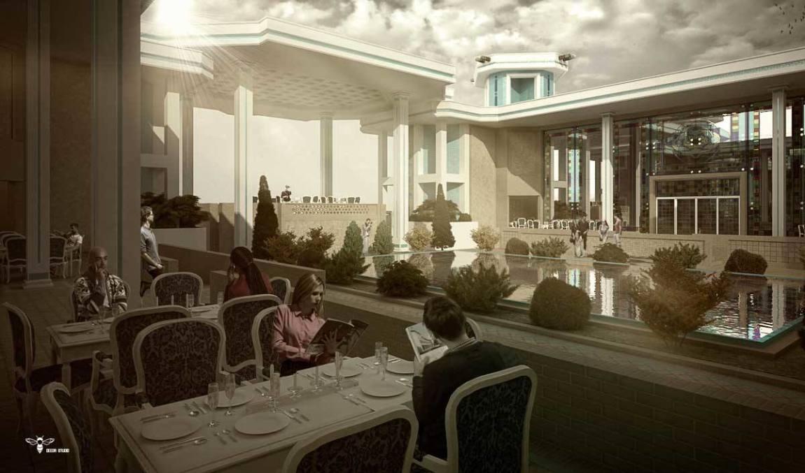 رستوران های نوای کویر ( شاه نشین - شیشه های سرتاسری اسپایدر رنگی - حوض بزرگ با نماد طرح زیلوی یزد - بادگیرهای موسیقیایی آن ) طراحی شده توسط استودیو معماری دیدآ