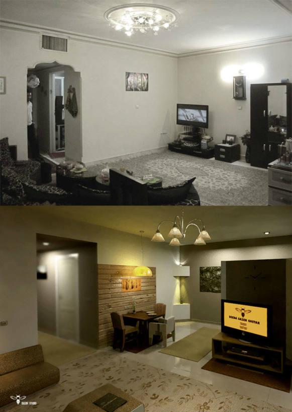 تصاویر تطبیقی و قبل و بعد از طراحی دکوراسیون داخلی یک سوییت 60 متر مربعی (استودیو معماری دیدآ )