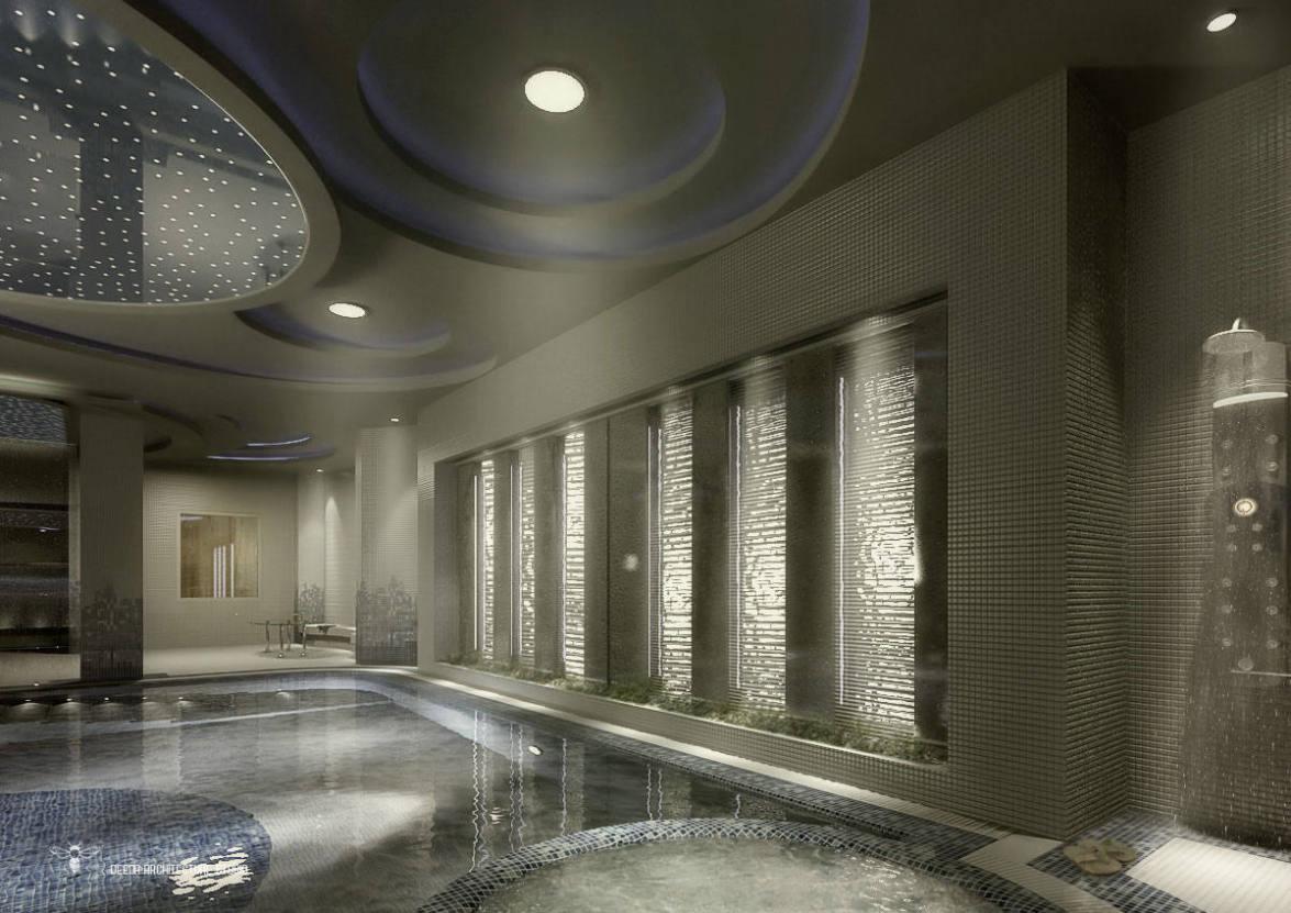 آبنمای داخلی استخر و سونا خشک طراحی شده توسط استودیو معماری دیدآ