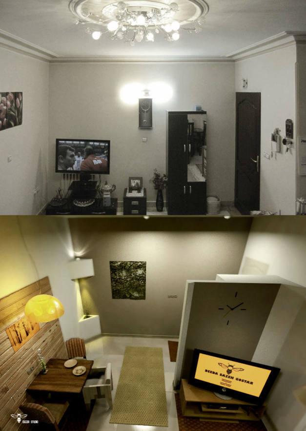 تصاویر تطبیقی دکوراسیون داخلی منزل 60متر مربعی (استودیو معماری دیدآ )