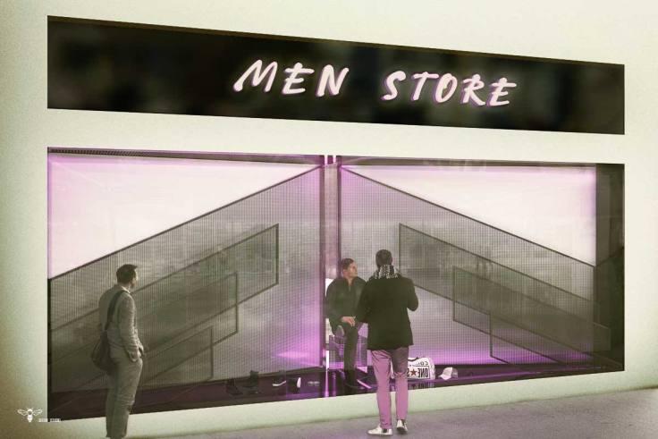 طراحی ویترین مغازه پوشاک مردانه ( استودیو معماری دیدآ )