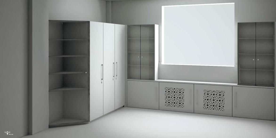 طراحی کمد اداری با درب شیشه ای ( استودیو معماری دیدا )