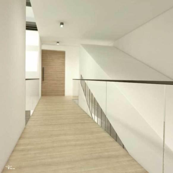 راهروی طبقه ی دوم و پل ارتباطی بین دو اتاق خواب ( استودیو معماری دیدآ )