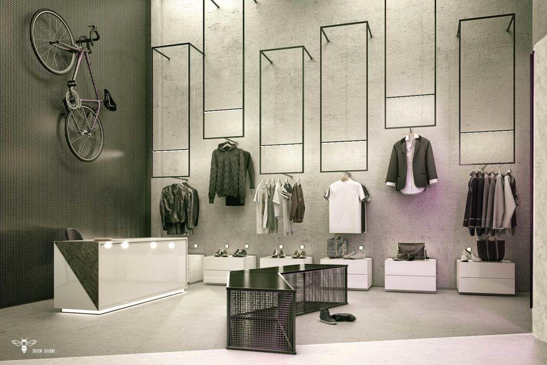 دکور مغازه پوشاک مدرن با نورپردازی خطی جهت رگال ها و ایجاد ویترین داخلی (استودیو معماری دیدآ )