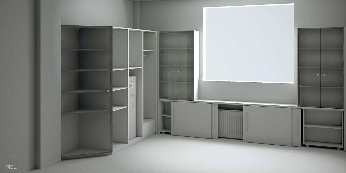 نمای جاگذاری وسایل در طراحی دکوراسیون اداری ( استودیو معماری دیدا )