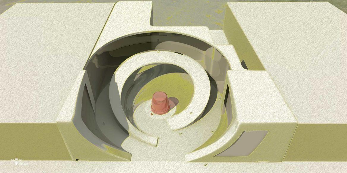 نمای پرنده طراحی مجتمع تجاری پلاسکو ( استودیو معماری دیدا )