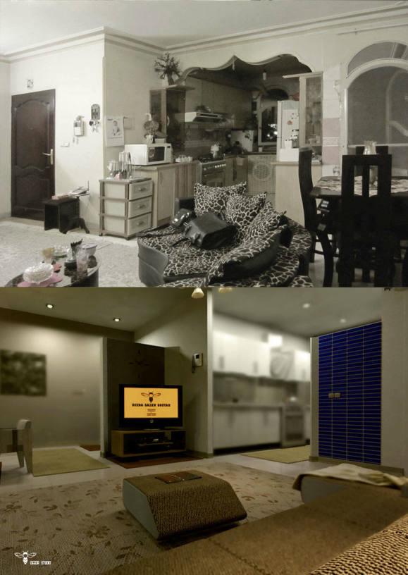 تصاویر قبل و بعد از طراحی دکوراسیون داخلی ( استودیو معماری دیدآ )