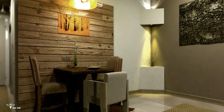 طراحی دکوراسیون بخش ناهارخوری و المان دکوراتیو در کنج دیوار (استودیو معماری دیدآ )