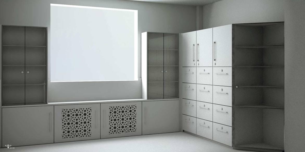 درب CNC شده جهت بخش شوفاژ در طراحی دکوراسیون اداری ( استودیو معماری دیدا )