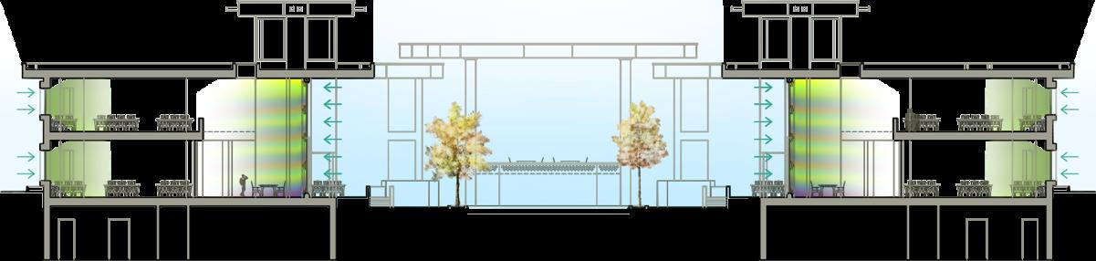 نمای شیشه ایی اسپایدر سرتاسری رنگی به روش اسید کاری شده طراحی شده توسط استودیو معماری دیدآ