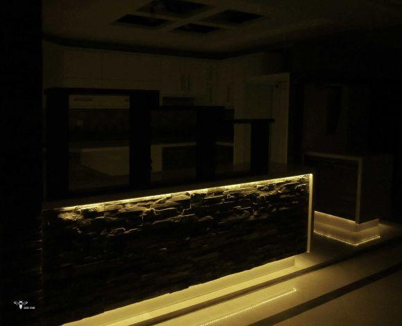 نورپردازی بخش اپن آشپزخانه ( استودیو معماری دیدا )