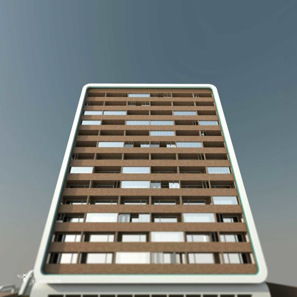 طراحی برج مسکونی نگار - نمای آجری با شیشه های فولدینگ - اتوبوسی طراحی شده توسط استودیو معماری دیدآ