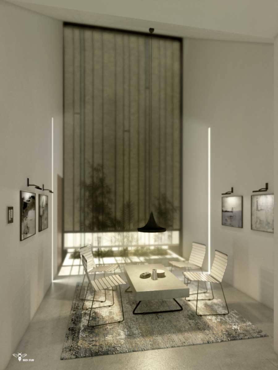 فضای گپ مدرن و طراحی نورپردازی خانگی توسط کنترل شید ها ( استودیو معماری دیدآ )- وجود یک باغچه ی کوچک و یک حوضچه ی یک متر مربعی بلافاصله بعد از شیشه - وجود سقفی بلند و شیبدار به سمت داخل بنا که به مثابه ی دروازه ای نور را به داخل بنا هدایت می کند . - دسترسی مجزا به ورودی بنا - وجود دو بازشو با لولای بالا بازشو در نمای شیشه ای جنوبی جهت سیرکولاسیون هوا - دو نور خطی عمودی که ضمن خوانا نمودن حریم نشیمن ، از فرم های هارمونیک طرح میباشد . - تابلو های نقاشی و صندلی و میز مدرن ( میز بتنی پُر ضخامت با پایه های ظریف فلزی )