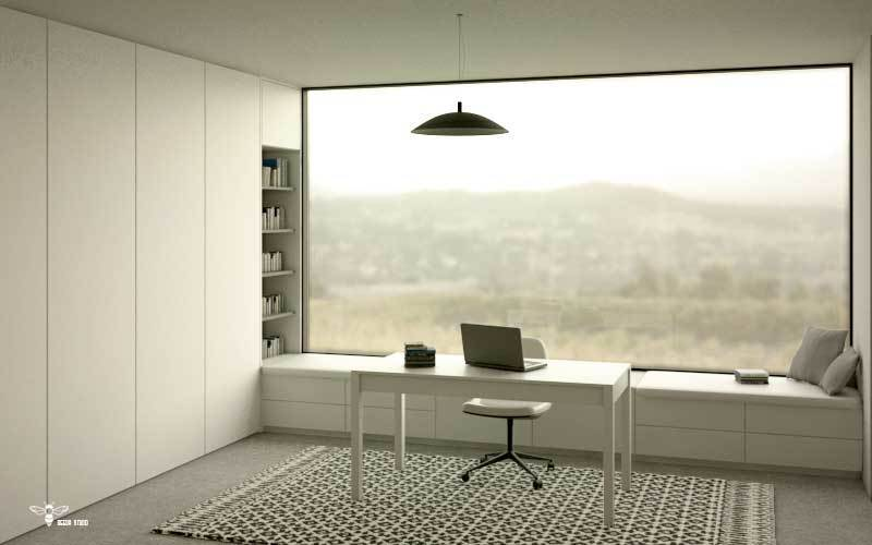 طراحی دکوراسیون معماری سوییت فرزند در پرپژه ی خانه ایی برای یک خانواده و پنجره ی یه تیکه و سرتاسری آن توسط استودیو معماری دیدآ