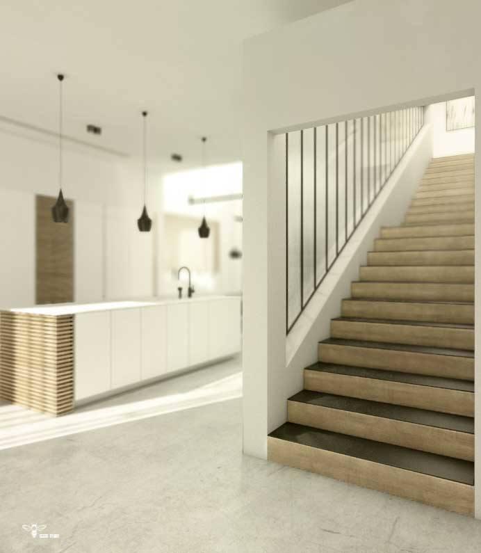 دکوراسیون داخلی و هارمونی فضای راه پله با فرم کابینت آشپزخانه مدرن طراحی شده توسط استودیو معماری دیدآ