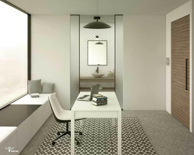نمایی به سمت سرویس بهداشتی و درب های برقی شیشه ایی رو به داخل دیوار (