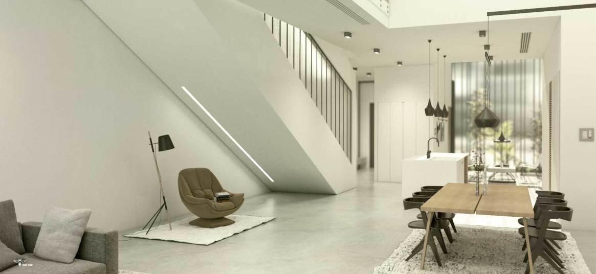 بخش های مختلف در طراحی دکوراسیون مدرن - بخش راه پله و نورپردازی خطی و در نظر گرفتن فضایی برای مطالعه در بخش غیر قابل استفاده زیر پله ( استودیو معماری دیدآ )