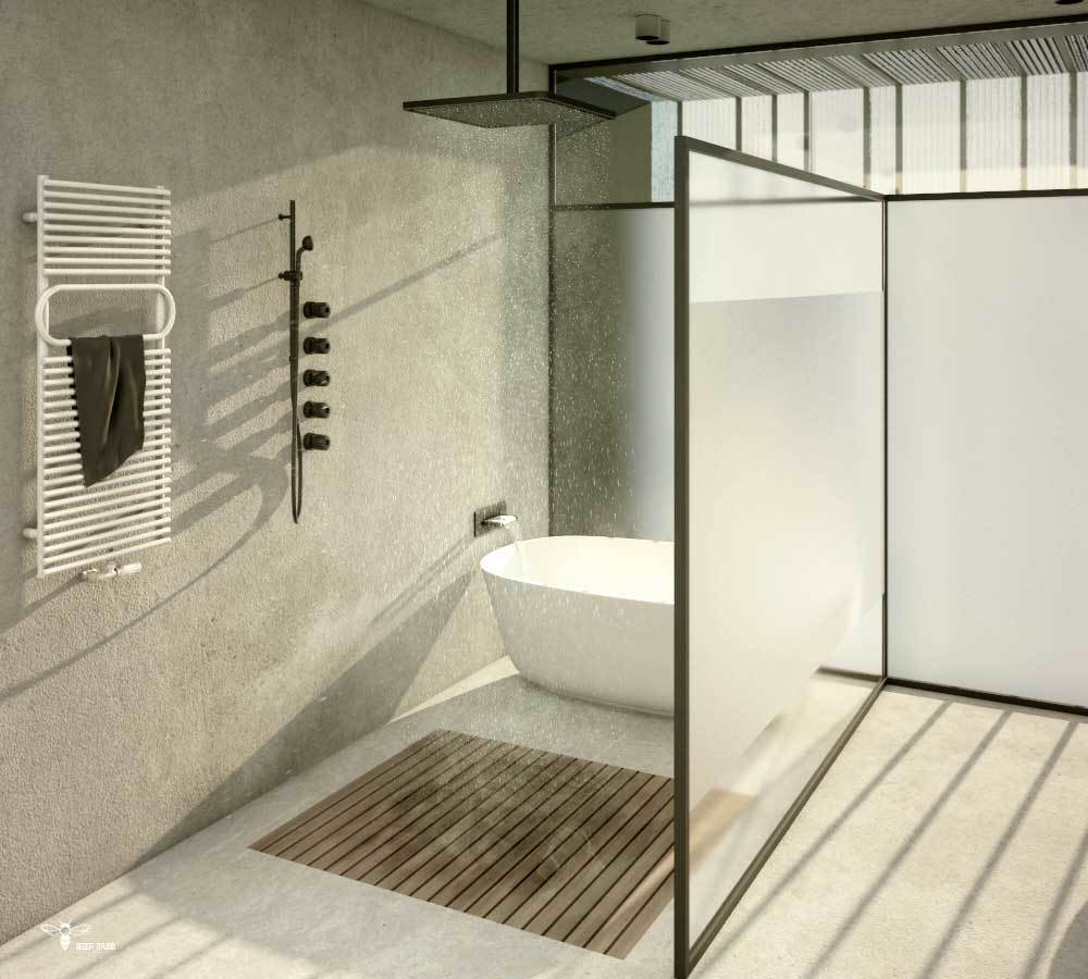 طراحی حمام منحصر به فرد در پروژه ی خانه ایی برای یک خانواده ( استودیو معماری دیدآ )
