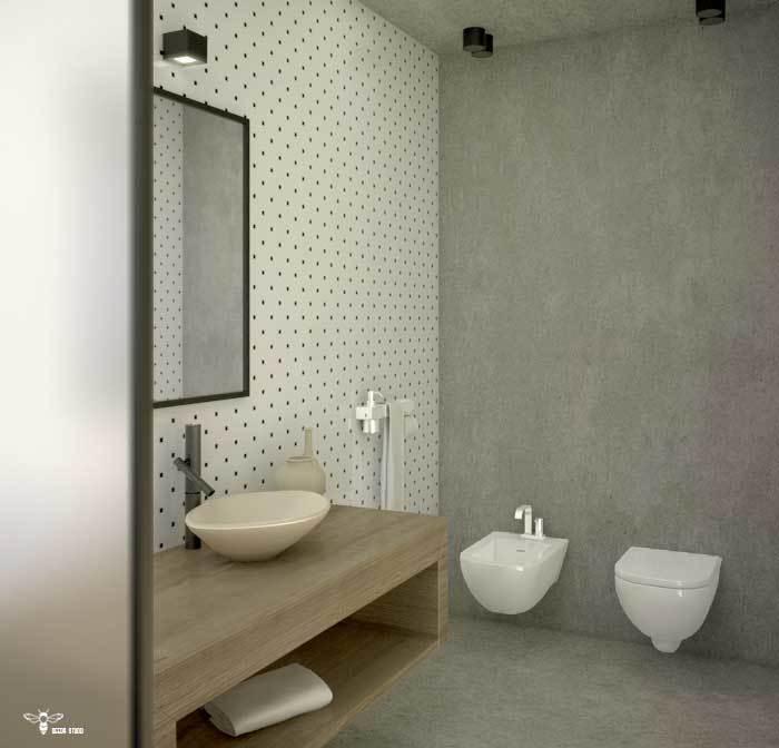 سرویس بهداشتی مدرن ترکیب بتن و کاشی ( استودیو معماری دیدآ )
