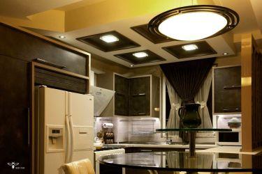 نورپردازی تعرف شده در بالای فضای ناهارخوری ( استودیو معماری دیدآ )