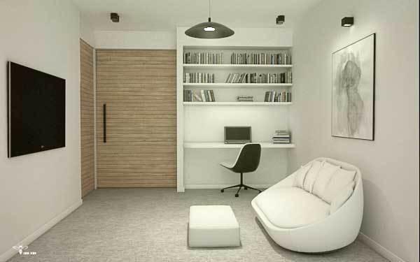 کتابخانه و فضای نشیمن اتاق مستر ( استودیو معماری دیدآ )
