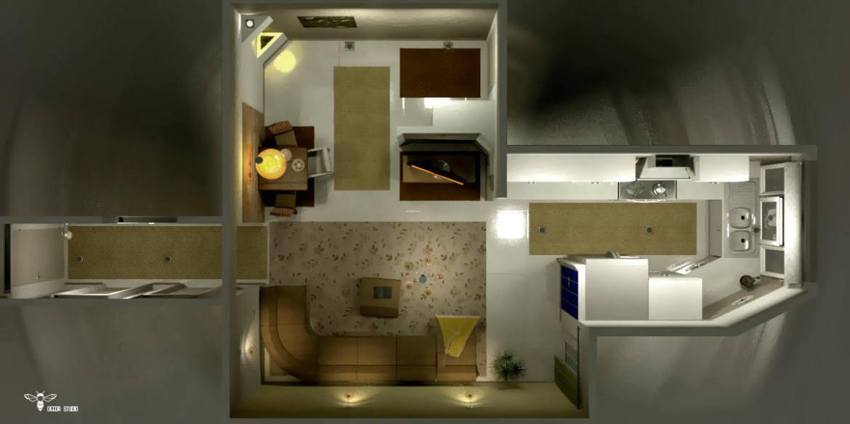 تصویر طراحی داخلی انجام شده - نمای پرنده ( استودیو معماری دیدآ )