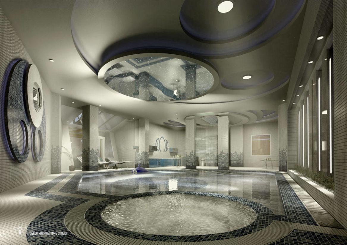 طراحی استخر توسط استودیو معماری دیدآ به صورت مونوکروم با کاشیکاری ریزشی