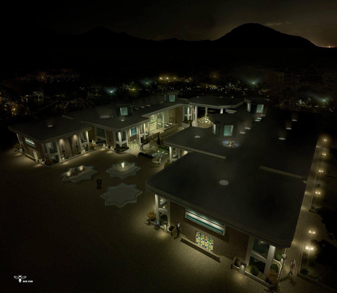 نمای دید پرنده رستوران نوای کویر در شب و تاکید بر نورپردازی خاص آن توسط استودیو معماری دیدآ