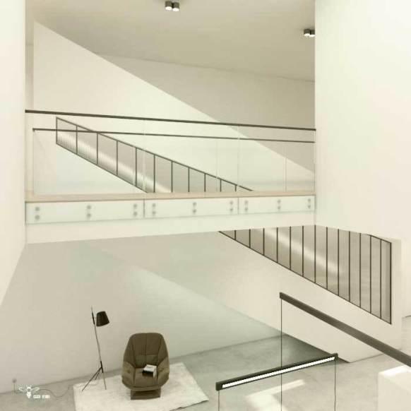 نمایی از فضای وید و طراحی معماری راه پله ی مدرن - ( استودیو معماری دیدآ)