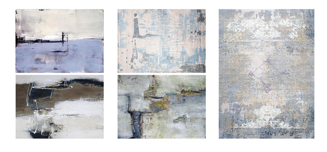 طرح فرش و تابلو های به کار رفته در دکوراسیون داخلی پروژه ( استودیو معماری دیدآ )