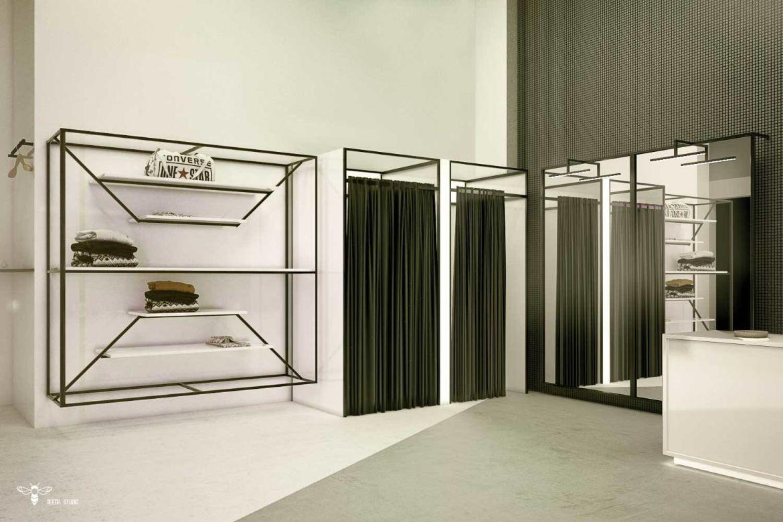 دکور مغازه پوشاک و طراحی منحصر به فرد المان با استراکچر لزی و طراحی آینه ی دیواری و نورهای خطی آن (استودیو معماری دیدآ )