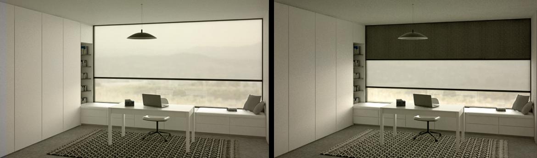 شید دو رول برقی برای بخش مطالعه و کمد دیواری آنتوسط استودیو معماری دیدآ