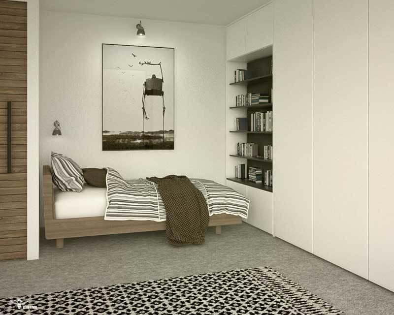 طراحی معماری سوییت فرزند و نمایی از فضای خواب و کمد دیواری و کتابخانه آن توسط استودیو معماری دیدآ