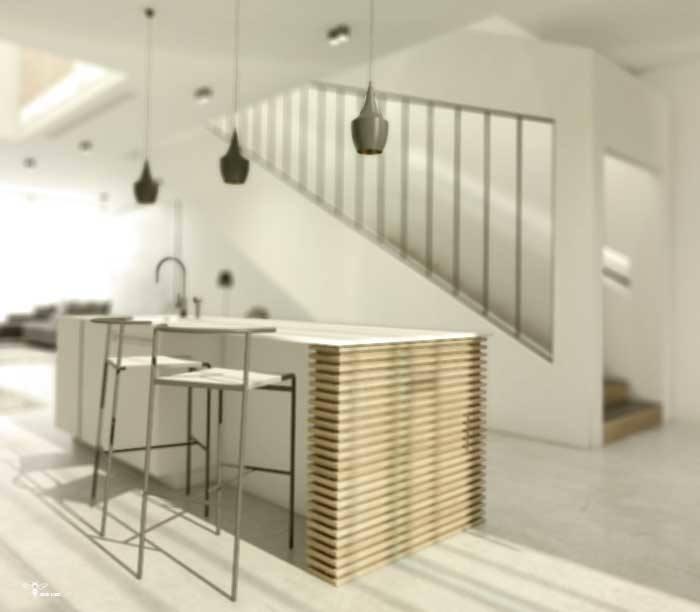 نمایی از کابینت آشپزخانه و راه پله ی فوق مدرن که توسط استودیو معماری دیدآ طراحی شده است