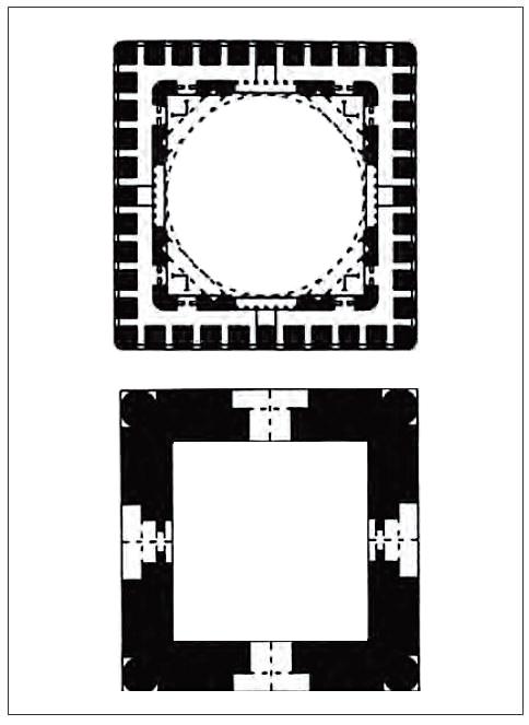 پلان مقبره امیر اسماعیل سامانی در دو ارتفاع