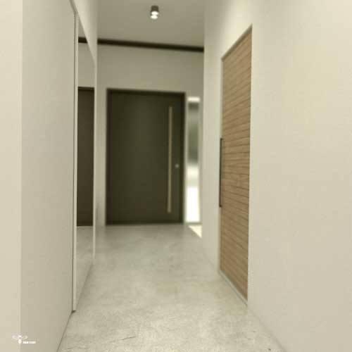 فضای ورودی و مکس و کمد دیواری جولوی ورودی آن طراحی معماری و دکوراسیون داخلی طراحی شده توسط استودیو معماری دیدآ