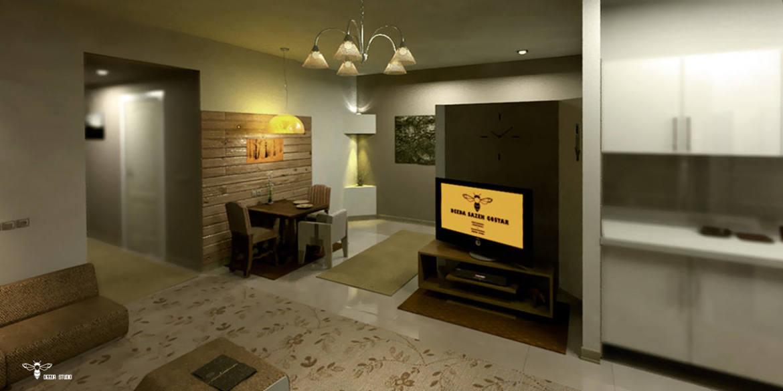 نمای طراحی شده ی بخش tv و فضای ناهارخوری ( استودیو معماری دیدآ )