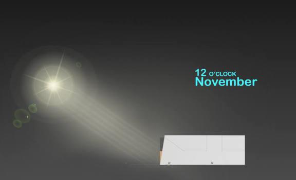 ( نورگیری طبیعی بنا در ماههای مختلف سال ( با توجه به موقعیت جغرافیایی آن -نوامبر (بین آبان و آذر)