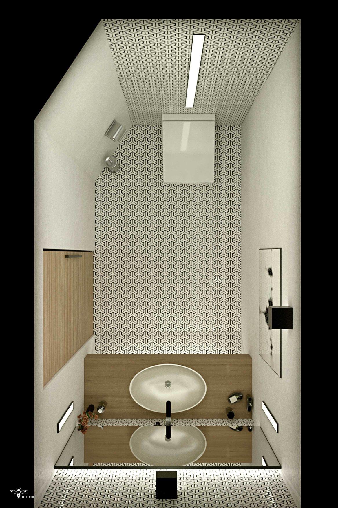 سرویس بهداشتی مدرن از نمای پرنده طراحی شده تویط استودیو معماری دیدآ